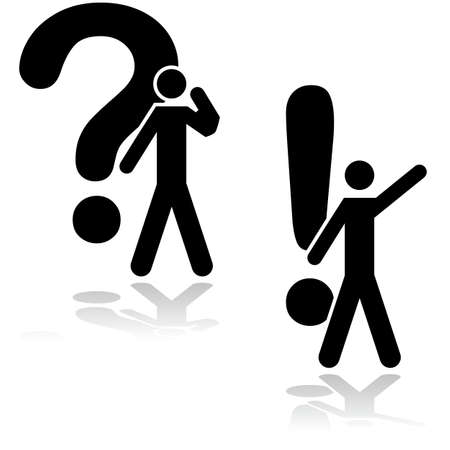 Concept illustration showing a man thinking about a problem beside a question mark and having found an answer beside an exclamation mark Vector