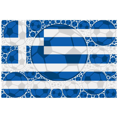 Concept illustration showing the flag of Greece made up of soccer balls Illustration