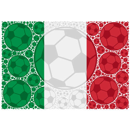 Concept illustration showing the flag of Italy made up of soccer balls