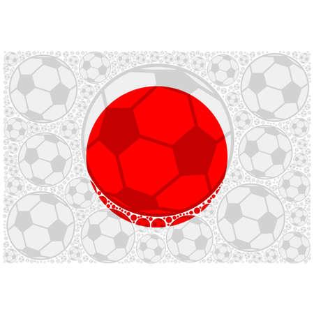 Concept illustration showing the flag of Japan made up of soccer balls