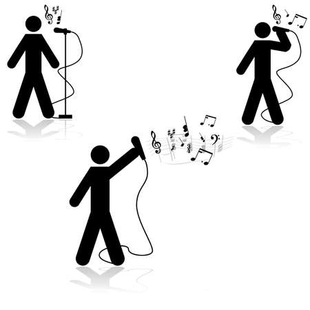 music figure: Icon illustration showing a man in three different singing poses with musical notes beside him Illustration