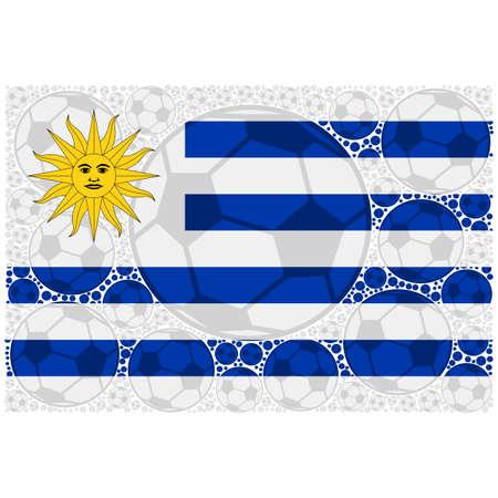 Concept illustration showing the flag of Uruguay made up of soccer balls Ilustração