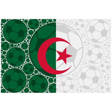 Concept illustration showing the flag of Algeria made up of soccer balls