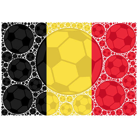 Concept illustration showing the flag of Belgium made up of soccer balls