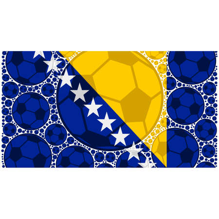 Concept illustration showing the flag of Bosnia and Herzegovina made up of soccer balls