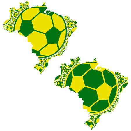 Concept illustration showing the map of Brazil made up of yellow and green soccer balls