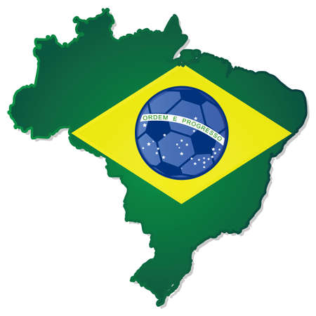 Concept illustration showing the map of Brazil with its flag on top of it and a soccer ball in the middle of the flag
