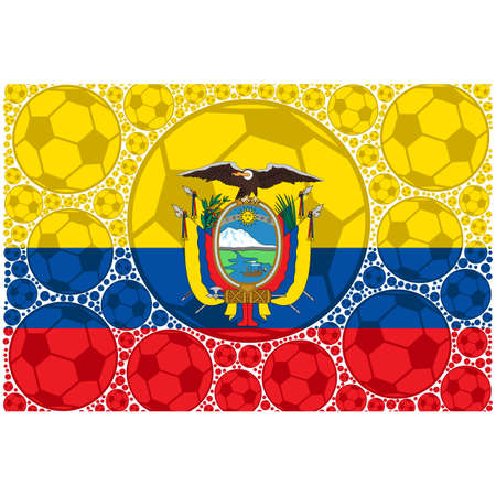 Concept illustration showing the flag of Ecuador made up of soccer balls