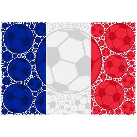 Concept illustration showing the flag of France made up of soccer balls Ilustrace