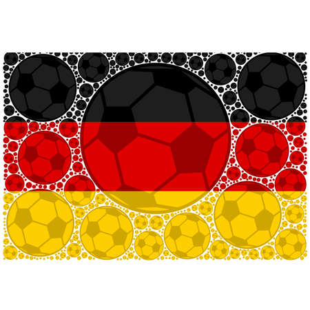 Concept illustration showing the flag of Germany made up of soccer balls