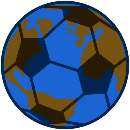 Concept illustration showing planet Earth inside a soccer ball Vector