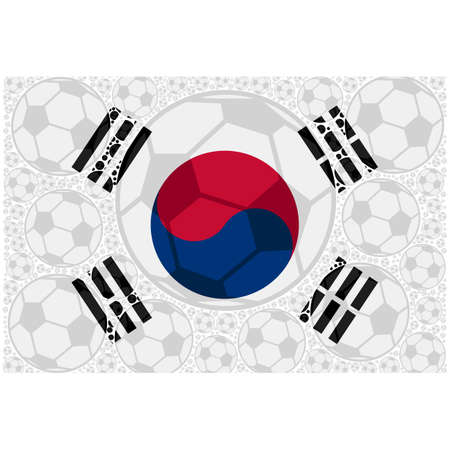 Concept illustration showing the flag of South Korea made up of soccer balls