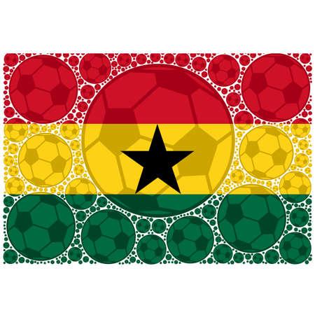Concept illustration showing the flag of Ghana made up of soccer balls
