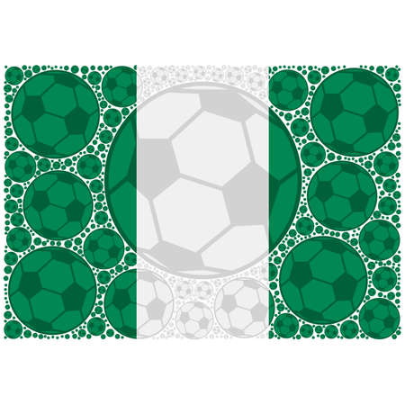 Concept illustration showing the flag of Nigeria made up of soccer balls