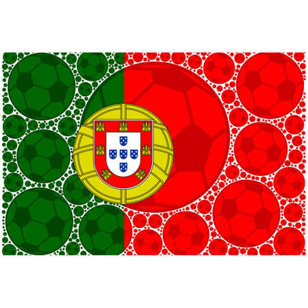 Concept illustration showing the flag of Portugal made up of soccer balls