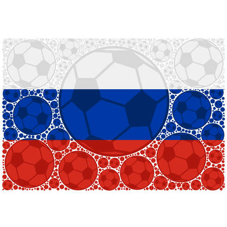 Concept illustration showing the flag of Russia made up of soccer balls