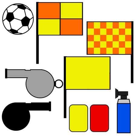 offside: Cartoon illustration showing tools commonly used by soccer referees