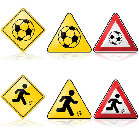 alerts: Icon set showing traffic signs with a soccer ball or with a man playing soccer