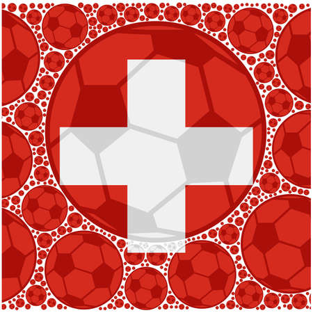 Concept illustration showing the flag of Switzerland made up of soccer balls 向量圖像
