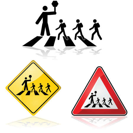 Icon illustration showing a crossing guard with a stop sign and children crossing the street Vector