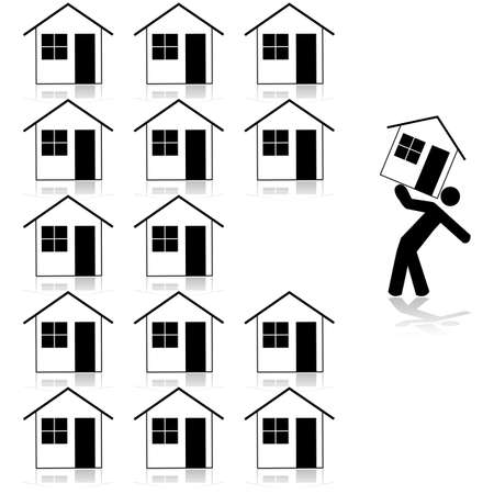 ones: Concept illustration showing a man carrying a house after selecting it from several similar ones Illustration
