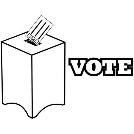 Icon illustration showing a ballot being deposited in a ballot box