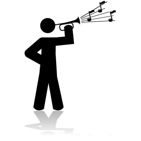 music figure: Icon illustration showing a man playing a bugle