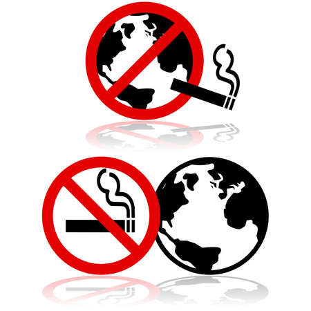 Icon set showing the globe combined with a no smoking sign