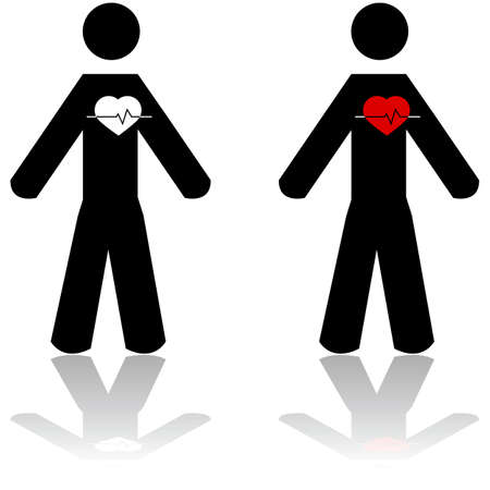 heart attack: Concept illustration showing a man with an apparent heartbeat, and the heart in white or red