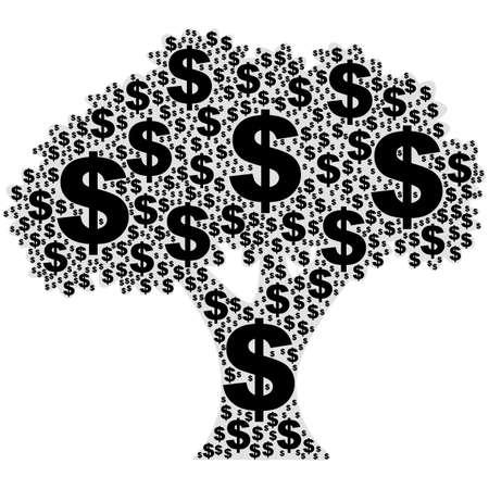 easy money: Concept illustration showing a tree made of dollar signs