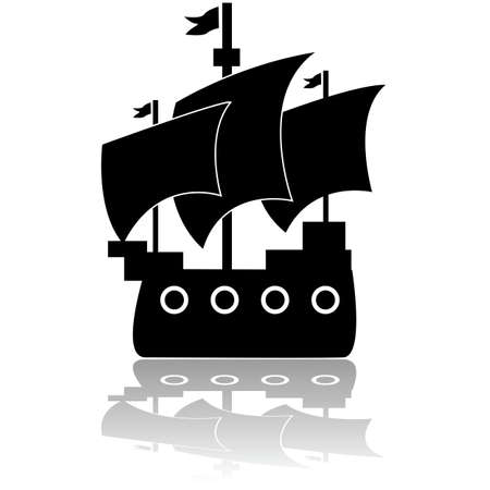 colonial: Icon illustration of an old wooden ship sailing in calm waters
