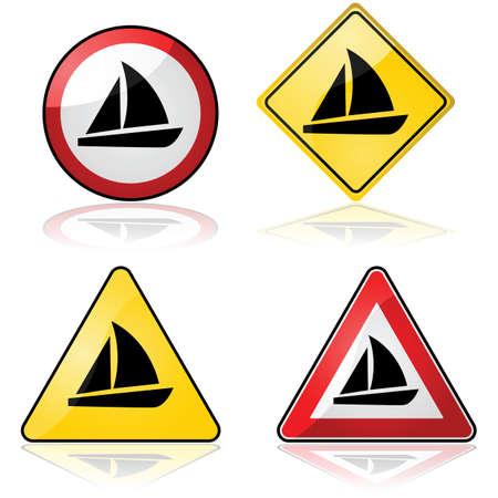 Icon set met verschillende verkeersborden met een zeilboot