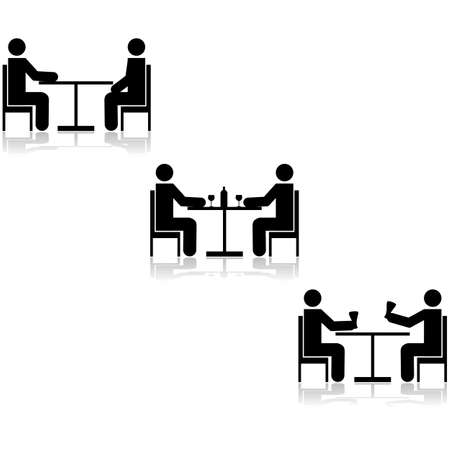 Icon set showing three different meetings taking place at a table