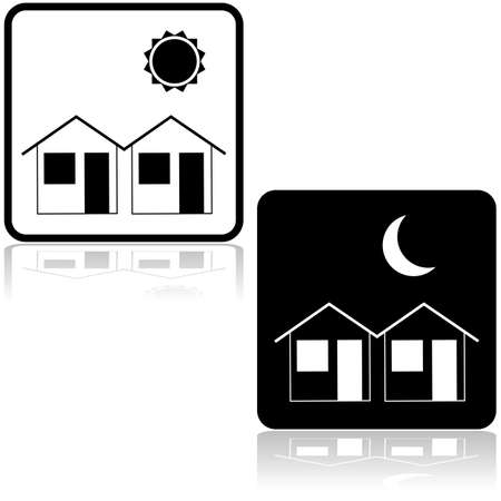 day and night: Icon illustration showing a couple of houses during the day and at night Illustration