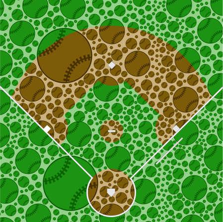 baseball field: Concept illustration showing a baseball field made up of baseballs