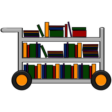 Cartoon illustration showing a library cart filled with different books