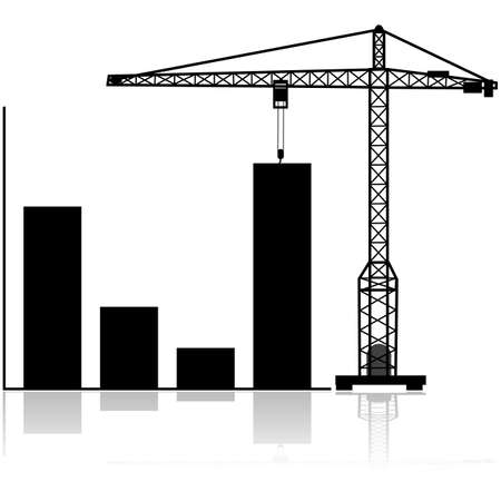 Concept illustration showing a crane pulling the last bar in a graph up Illustration