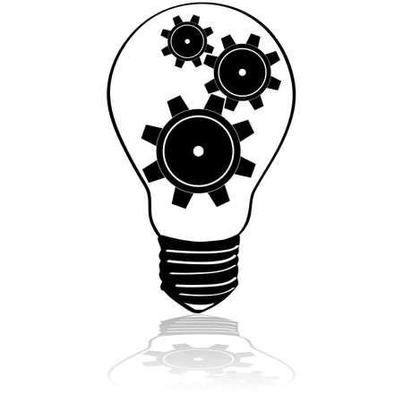 Concept illustration showing machine gears inside an electric bulb
