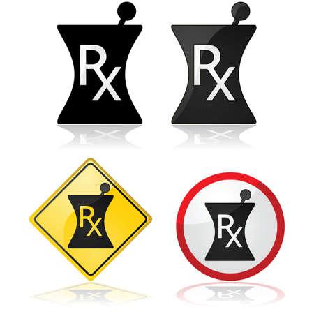 Icon set showing a prescription sign with different design arrangements