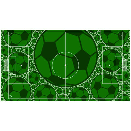 Concept illustration showing a soccer field made up of soccer balls
