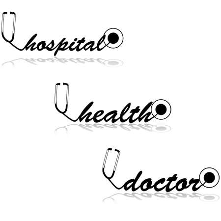 doctors and patient: Concept illustration showing a stethoscope creating different healthcare related words