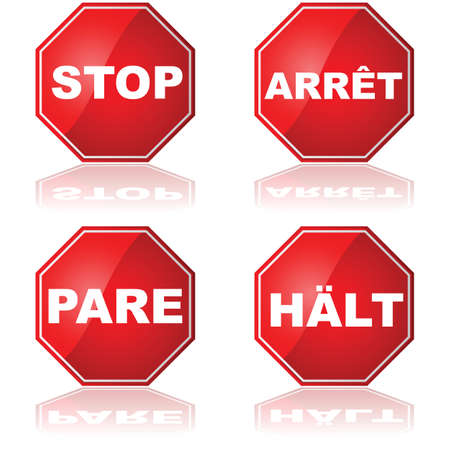 stop sign: Icon set showing Stop signs in different languages: English, French, Spanish and German