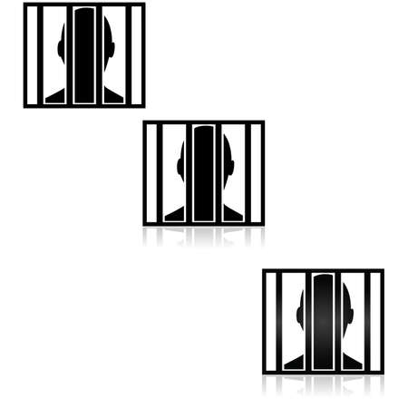 accused: Icon illustration showing the outline of a person behind bars, in three different graphic styles