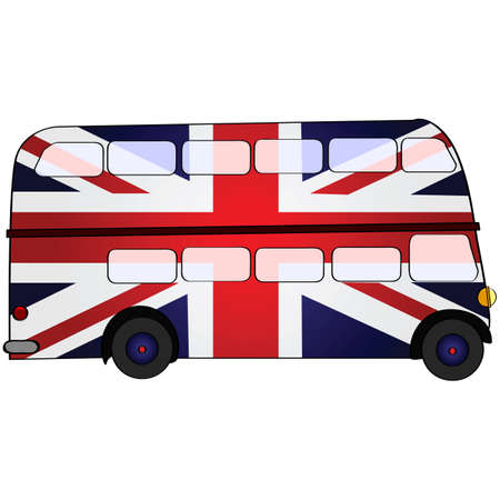 Cartoon illustration showing a double deck bus painted in the colors of the Union Jack, the flag of the United Kingdom Vectores