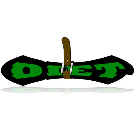 tightened: Cartoon illustration showing a belt tightened around a squeezed word DIET Illustration