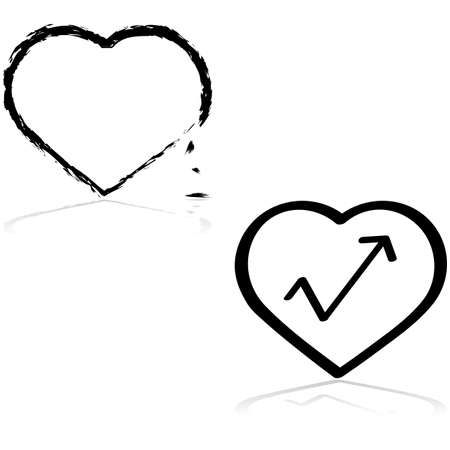 stronger: Icon set showing a fragile heart breaking down and a stronger heart recovering
