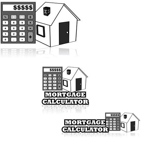 Icon set showing a house and a calculator alongside the words Mortgage calculator Vector