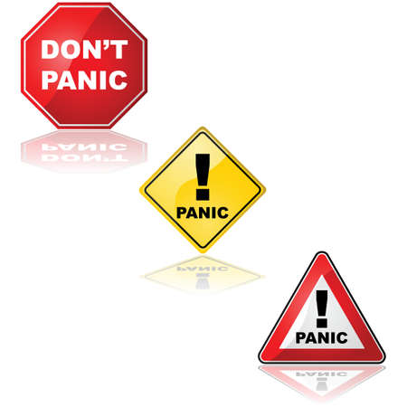 reflection of life: Collection of traffic signs with the word Panic and the expression Dont panic Illustration