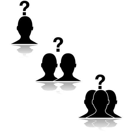 questioning: Konzept Illustration zeigt die Umrisse einer Person in Frage Beziehungen zu anderen Menschen