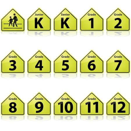 kindergarden: Concept illustration showing a school sign and different signs for school grades, from Junior Kindergarden to Grade 12 Illustration